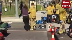 Shooting in California update Gunman shot in San Bernardino, California.mp4
